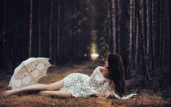 Wallpaper White lace skirt girl, umbrella, forest