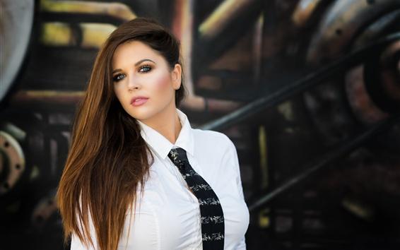 Обои Белая рубашка девушка, галстук, лицо, длинные волосы