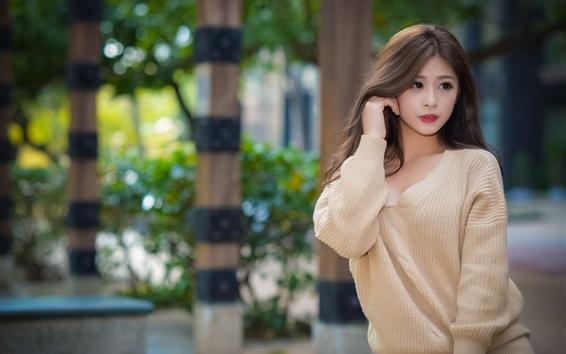 壁纸 年轻的亚洲女孩,街