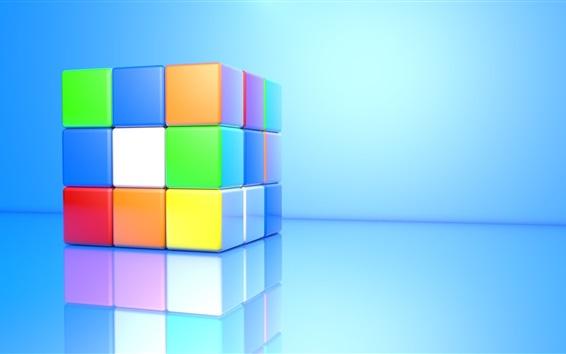 Wallpaper 3D cube, colorful colors