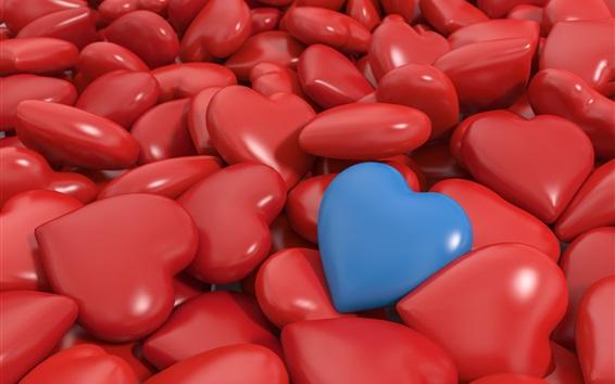 Обои 3D любовь сердца, много красного и одного синего