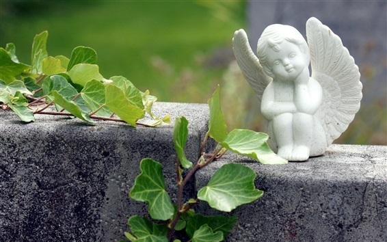 Wallpaper Angel statuette, plants