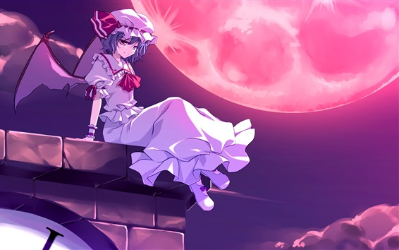 Wallpaper Anime girl at night, wings, roof, moon