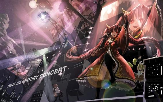 Wallpaper Anime girl singing, stage