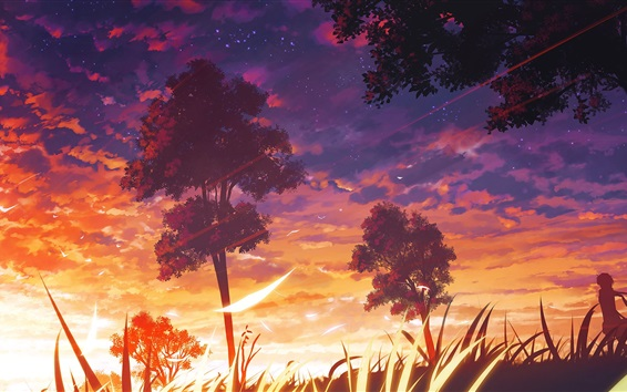 Wallpaper Anime, trees, sunset, clouds, nature landscape