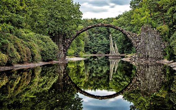 Обои Арка, мост, озеро, отражение воды, парк, Германия
