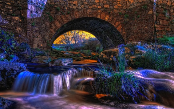 Wallpaper Arch, bridge, stones, stream