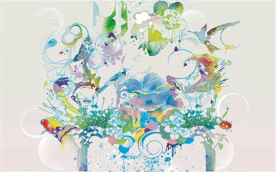 Wallpaper Art drawing, birds, flowers