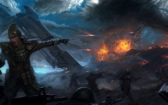 Wallpaper Art picture, soldiers, war, smoke