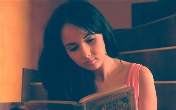 Wallpaper Asian girl reading a book