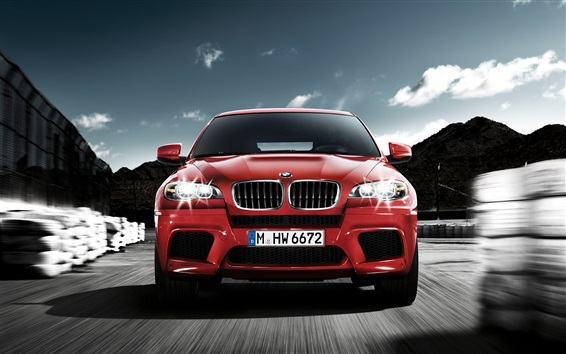 Wallpaper BMW red car front view, speed