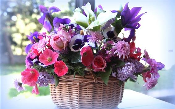 Wallpaper Basket, many kinds flowers