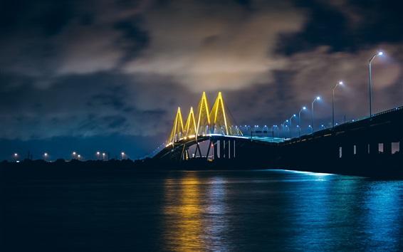 Wallpaper Baytown, Texas, USA, bridge, illumination, river, night