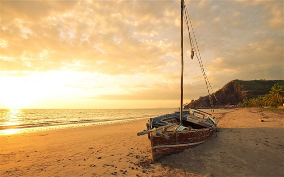 Papéis de Parede Praia, barco quebrado, mar, pôr do sol