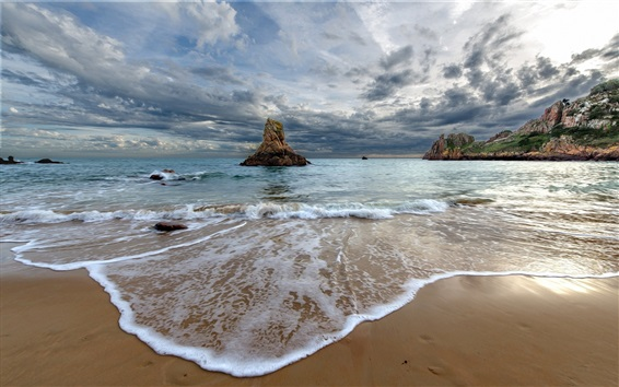 Wallpaper Beach, foam, waves, sea, rocks, clouds, nature landscape