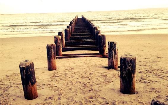 Wallpaper Beach, pier, wood