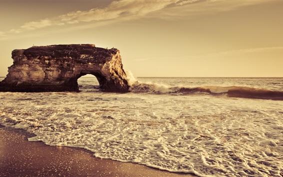 Fond d'écran Plage, mer, rochers, arche, vagues