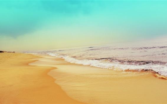Wallpaper Beach, sea, waves, foam, sky