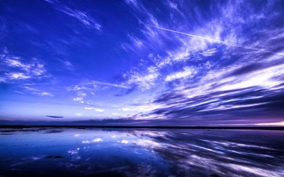 Обои Красивый пейзаж природы, море, небо, облака, синий стиль