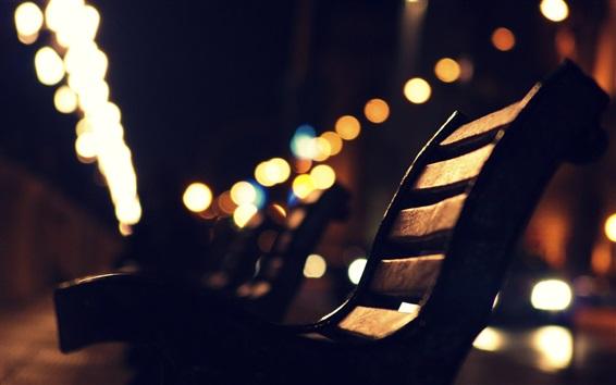 Fond d'écran Banc, nuit de la ville, éblouissement, rue