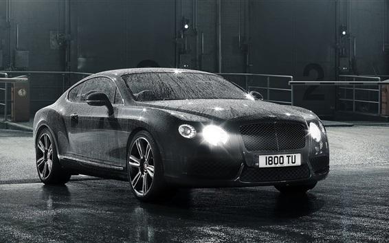 Papéis de Parede Bentley Continental GT carro preto, depois da chuva, gotas de água