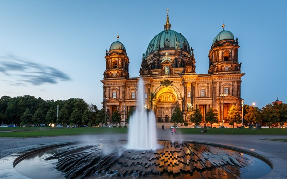 Wallpaper Berlin Cathedral, architecture, Germany, night, fountain