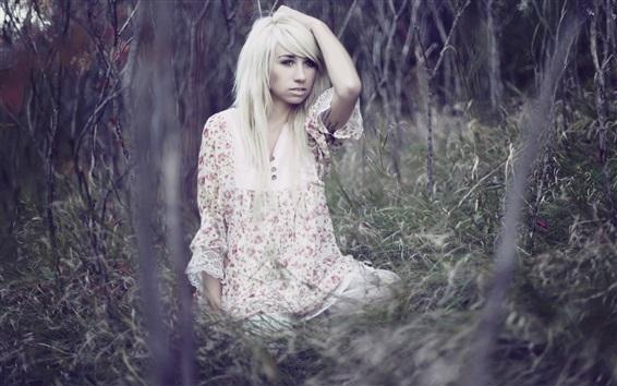 Wallpaper Blonde girl, forest, grass, bokeh