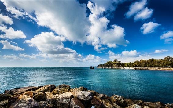 Hintergrundbilder Blaues Meer, Pier, Felsen, Wolken