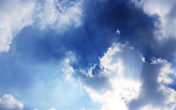 Wallpaper Blue sky, clouds, sun rays
