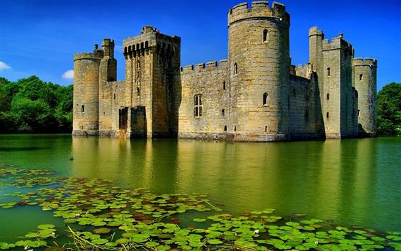 Fond d'écran Bodiam Castle, lac, Angleterre