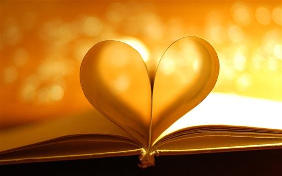 Fond d'écran Livre, amour coeur, style chaleureux