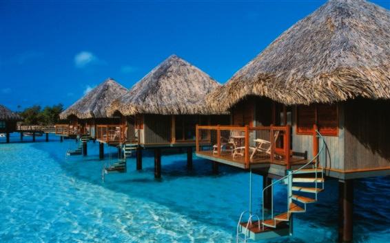 Wallpaper Bora Bora island, French, vacation, huts, sea