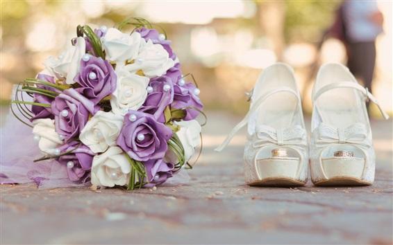 Wallpaper Bouquet roses, shoes
