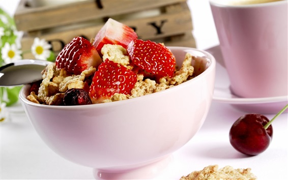 Wallpaper Bowl, strawberry, cereal