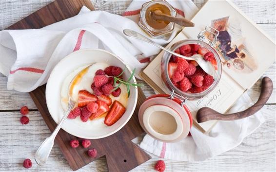 배경 화면 아침 식사, 딸기, 라스베리, 디저트