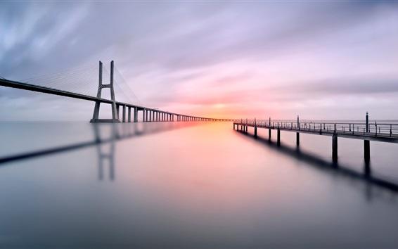 Wallpaper Bridge, pier, river, morning, calm water