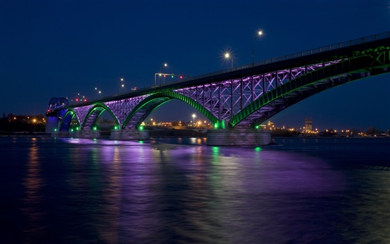 Wallpaper Bridge, river, night