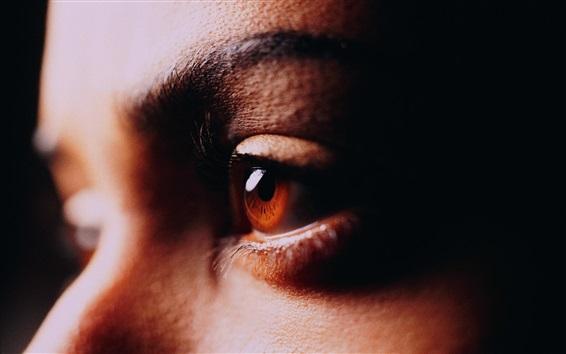 Wallpaper Brown eyes close-up, face