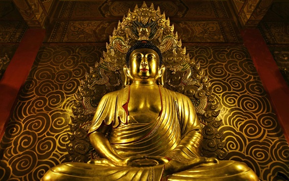 Wallpaper Buddha statue, gold, temple
