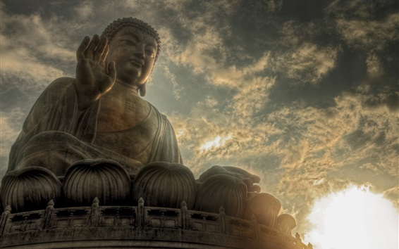 Wallpaper Buddha statue, sky, clouds