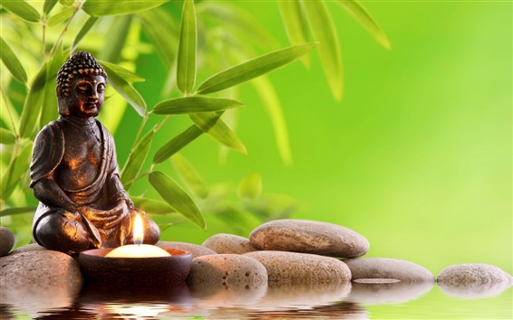Wallpaper Buddha statue, stones, water, bamboo leaves, candle
