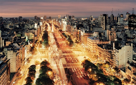 Wallpaper Buenos Aires, Argentina, city night, buildings, roads, cars, lights