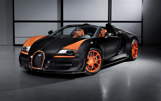 Papéis de Parede Bugatti Veyron supercar, preto e laranja