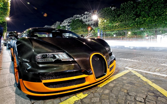 Papéis de Parede Bugatti Veyron supercar frente vista, rua, noite