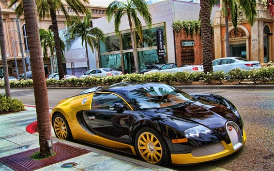 Wallpaper Bugatti Veyron supercar stop at city street