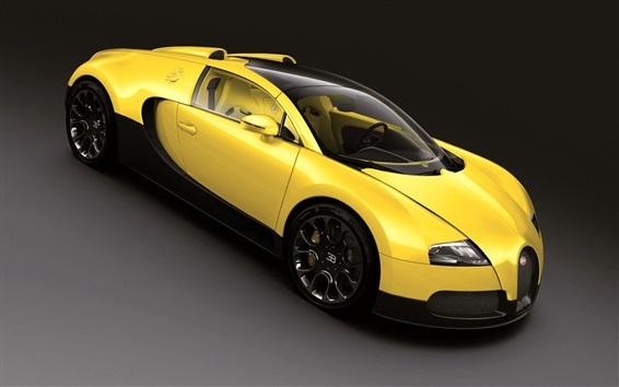 Papéis de Parede Bugatti Veyron supercarro amarelo