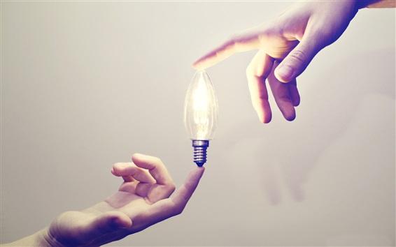 Wallpaper Bulb, light, hands, creative