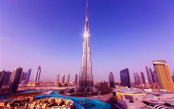 Fond d'écran Tour Burj Khalifa, gratte-ciels, Dubaï, Émirats Arabes Unis, ciel bleu
