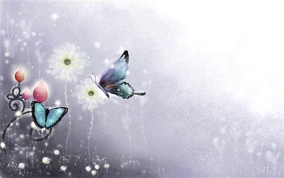 Fond d'écran Papillon et fleurs, photo d'art