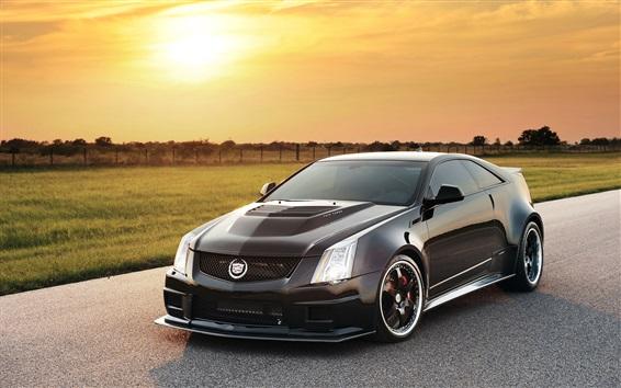Fond d'écran Cadillac voiture noire au coucher du soleil